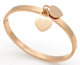 Wholesale Double Rose Rings - Titanium steel jewelry wholesale double peach heart bracelet stainless steel rose gold bracelet heart-shaped bracelet three-color optional