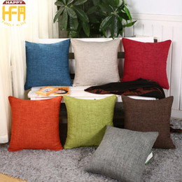 Wholesale Cushions For Sofa Red - 45*45Cm Chair Cushions Backrest Pillow Pure Linen Pillowcases Backrest Cushion Cases For Living Room Sofa Decoration Mixed Color