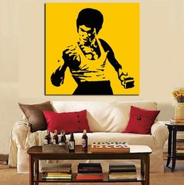 Wholesale Famous Cartoon Paintings - Pop Art Famous Bruce Lee Oil Painting on Canvas Art Kungfu Star Wall Picture Cuadros Modern Sofa for Living Room Decor