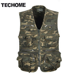 Wholesale TECHOME Multi Pocket Camouflage Vest Men Casual Travel Waistcoat Cotton Fish Sleeveless Jacket Camo Caza Vest Straight Clothes