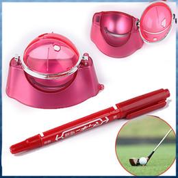 marcadores de bola Desconto Atacado-Red Ball Ball Line Liner Marcador Pen Marks Template Alinhamento Tool Set Equipamentos Acessórios Atacado