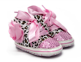 Wholesale Infant Ribbon Shoe Laces - 2017 Latest Toddler Baby Girls Shoes Floral Leopard Bling Infant Soft Sole First Walker canvas Shoes With Ribbons Riband