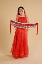 Wholesale Girls Indian Dresses - Children Belly Dance Costumes Girls Performance Dancing Sets Indian Sari Dresses For Kids Stage Performance Dancewear