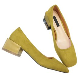 Wholesale Wedding Footwear For Women - New Cheap Heels Online For Women Designer Ladies Dress Office Chunky Heels Pumps Shoe Fashion Female Flock Fabric Footwear Work Outlet Shoes