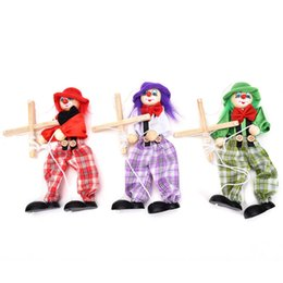 Wholesale Toys Clown Doll - Wholesale-Vintage Colorful Funny Handcraft Toy Pull String Puppet Clown Wooden Marionette Toy Joint Activity Doll Kid Children Gift Craft