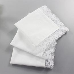 Wholesale Lace Handkerchiefs Wholesale - White Lace Thin Handkerchief Woman Wedding Gifts Party Decoration Cloth Napkins Plain Blank DIY Handkerchief 25*25cm
