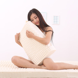 Wholesale Latex Cervical Pillow - Wholesale- Home Textile 100% Natural Latex Pillow Contour Neck Pillow for Adults Latex Foam Pillow Cervical Good Sleeping Memory foam