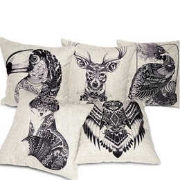 Wholesale Parrot Covers - Creative Totem Animals Pillow Cover Hand Drawn Style Deer Elk Fox Bird Parrot Peacock Cushion Covers Sofa Throw Decorative Linen Pillow Case