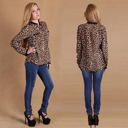 Wholesale Ladies Fashion Tops Wholesale - Hot Sale Fashion Blouses Shirts Women Wild Leopard print lady sexy Long-sleeve top Tees shirt loose plus size V neck leopard blouse Apparel