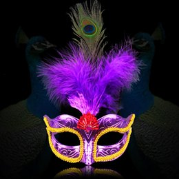 Wholesale Gold Dance Costumes Girls - New Women Elegant Peacock feather Mask Girls Costume Sexy Prom Party Halloween Christmas Masquerade Dance Masks