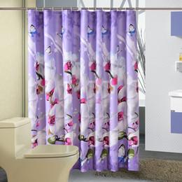 Tecido de impressão orquídea on-line-Cortina de Chuveiro de tecido de Poliéster À Prova D 'Água Casa Cortinas de Orquídea Borboleta Cortinas de Porta de Impressão Roxo Bath Crutain para o Banheiro