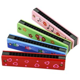 Wholesale Wholesale Baby Instruments - New Funny Wooden Harmonica Kids Music Instrument Educational Child Attractive Toy Band Kit Children baby toys Birthday Gift