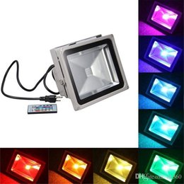 Wholesale Red Led Flood Lights - RGB LED Flood Light 10W 20W 30W 50W Foco LED Exterior Spotlight IP65 LED Outdoor Light Reflector Spot Floodlight Remote Control