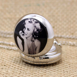 Wholesale Small Cute Watches - Wholesale-New Style Marilyn Monroe Enamel Vintage Jewelry Fashion Small Size Cute Number Silver Color Beauty Girl Quartz Pocket Watch