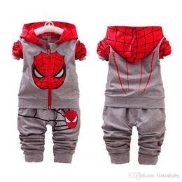 Wholesale Kids Spiderman Tracksuit - Baby Casual Suit Children Spring Autumn Tracksuit Boys Girls Long sleeve Clothes Children Spiderman Hoodie and Pants Set Kids Clothing