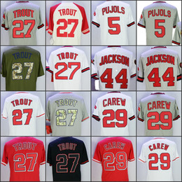 Wholesale Green Road - 27 Mike Trout 5 Albert Pujols 29 Rod Carew 44 Reggie Jackson White Grey Red 1985 Throwback Jerseys Home Away Road Jersey stitched