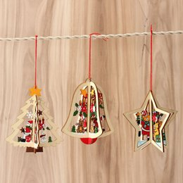 Wholesale Tree Bell Ornaments - Wholesale-Christmas Decoration Wood Xmas Tree Star Bell Hanging Decor Christmas Three-Dimensional Decoration For Home