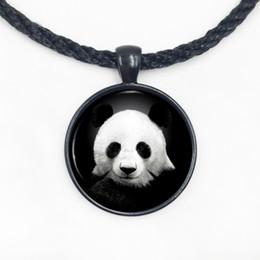 Argent Ours Panda Visage Ours Magnifique Collier avec Panda