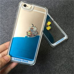 Custodia Liquid per Apple iPhone 6 6S 7 Plus Clear Cute Design Galleggiante in gomma da nuoto Coppia anatre fluenti dinamiche Cover posteriore rigida da gomma liquida chiara fornitori