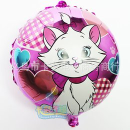 Wholesale Aluminium Cats - mary cat Balloons with stick rattle ballon for Birthday Party Valentine's Day marie baloes baby shower