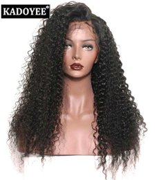 Wholesale Only For Baby - Free shipping Front lace Wigs with baby hair Brazilian kinky curly deep curly hair wigs for black women jerry curly lace front cap