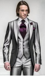 Wholesale Western Coat Pant - Custom Made Top Quality Silver Suits Formal Groom Tuxedo for 4 Pieces business suits western wedding suit Coat+Pants+Vest+tie