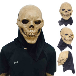 Wholesale Theater Latex Masks - Scary Party Masks Latex Skull Mask Adult Full Head Face Breathable Halloween Mask Fancy Dress Party Cosplay Costume Theater Toy