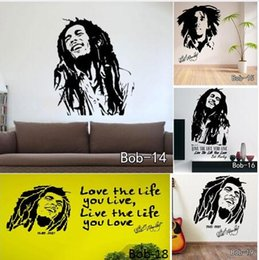 Wholesale Bob Marley Home - Bob Marley Sticker Bob Wall Stickers Removable Vinyl Quotes Decals Figure  Character Decals Home Decoration Free Shipping