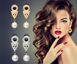 Wholesale Black Diamond Drop Earrings - Wholesale Hotselling Gold long dangle earrings vintage fashion big pearl jewelry chandelier retro temperament drop earrings for women