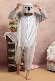 Wholesale Leopard Pajamas For Women - Wholesale- Pajamas Cosplay Shineye Koala Unisex Adults Casual Flannel Hooded Cartoon Cute Animal Sleepwear Leopard For Women Men