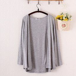 Wholesale Get Thin - Wholesale- 2017 summer bask thanks getting cardigan sweater modal shawls long sleeved in the air conditioning unlined upper garment to coat