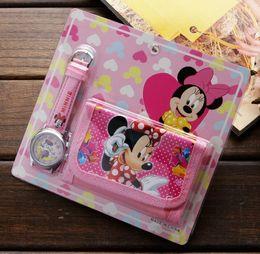Wholesale Cartoon Minnie Sets - Wholesale lot Minnie kids Sets watch and wallet purse wrist quartz Christmas Children gift Boys Girls Cartoon watches