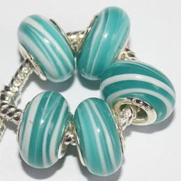 Wholesale European Green Lampwork - 50Pcs 925 Sterling Silver Bluey-green Stripe Murano Lampwork Glass Charm Beads For Pandora European Jewelry Charms Bracelet DIY Woman Xmas