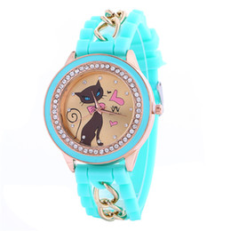 Wholesale Cat Watches For Women - Women heart cat design silicone watch fashion diamond dress chain watches leisure quartz wrist watches for women ladies Gift wholesale