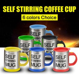Wholesale Automatic Tea - self stirring Cup 10pcs Automatic Mixing coffee Tea stainless steel coffee Cup Drinking Coffee mug