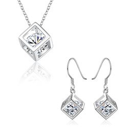 Wholesale Big 925 Silver Set - 925 Silver Jewelry Sets Square Shape with Big Cubic Zircoina Pendant Necklace Earrings Women's Jewelry S813
