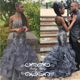 Wholesale Grey Organza Mermaid Dress - Sparkling Sequins Crystal Silver Grey Prom Dresses 2017 Sweetheart Tiered Pleat Mermaid Skirt Organza Long Graduation Evening Gowns