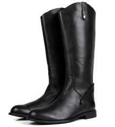 Wholesale Leather Riding Boots Men - Large size 2017 Fashion Black Knee High Mens Boots Genuine Leather Riding Boots Mens Motorcycle Boots Winter Shoes