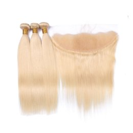 Wholesale Platinum Blonde Closure - 9A 613 Blonde Lace Frontal With Bundles 3 Pcs Brazilian Virgin Hair With Closure Platinum Blonde Straight Human hair With Lace Frontal