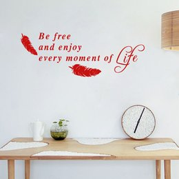 Wholesale Decal Feather Design - Be Free and Enjoy Every Moment of Life Quote Wall Stickers for Living Room Feather Art Vinyl Wall Decor Various color