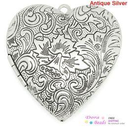 Wholesale Picture Lockets - DoreenBeads Frame Pendants Picture  Photo Locket Love Heart Antique Silver(Fits 3x2.7cm) Flower Carved 4.2x4cm,2PCs (B28786)