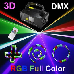 Wholesale 3d Lasers Rgb - Mini RGB Red Green Blue 3D DMX 512 Remote Sound Projector Stage Equipment Light DJ KTV Show Holiday Laser Lighting TDM-RGB400