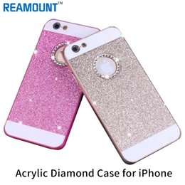 Wholesale Wholesale Mobile I Phone - 200pcs Glitter case for apple iphone 6 4.7 luxury waterproof phone mobile accessories pink Diamond cases i by PC flash powder Acrylic