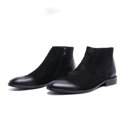 Wholesale Wedding Boots For Men - 2017 Brand Winter Luxury Fashion Mens Ankle Boots Genuine Leather Black Brown Men Shoes For Wedding Business 2017