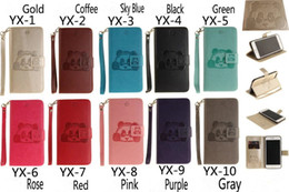 Wholesale Red Panda Iphone Case - For Iphone 7 Printing Panda Leather Flip PU Wallet Case with Card Holder Stand Back Cover Bag for Iphone 6 7 plus Samsung S6 S7 Edge