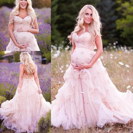 Wholesale Mothers Pregnant - Pregnant Mother Wear Wedding Dresses Sweetheart Appliques Organza Plus Size Wedding Gowns Sweep Train Layers New Fashion Pink Bridal Dress