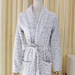 Wholesale Men Women Underwear Wholesale - Foreign trade European original single robe bathrobe men and women winter leopard coral household goods Women's Underwear