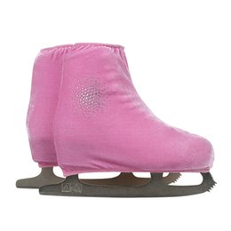 Wholesale Adult Ice Skating - Wholesale- 24 Colors Child Adult Velvet Ice Figure Skating Shoes Cover Roller Skate Fabric Cover Accessories Pink Shiny Round Rhinestone