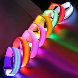 Wholesale Led Arm Light Band - LED Wrist Band Flashing Running Bracelet Lights Flash Glowing Arm Cuff Cycling Walking Running Armband Led Nylon UP Safety Wristband