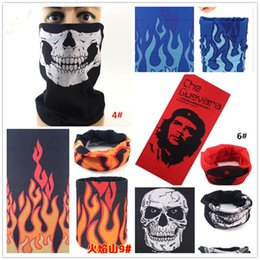 Discount cycling helmet hat - 30pcs bike motorcycle helmet face mask half skull mask CS Headwear Neck cycling pirate headband hat cap halloween mask pirate kerchief M065